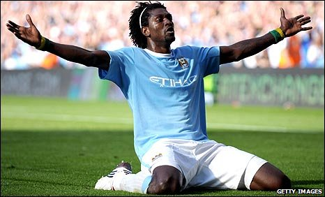 Emmanuel Adebayor celebrates in front of the Arsenal fans in September