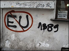 Anti-EU graffiti in Serbia