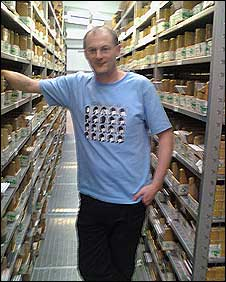 Graham Jones of Proper Music Distribution in the company's warehouse