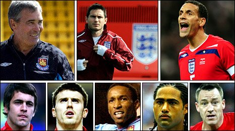 Clockwise: Tony Carr, Frank Lampard, Rio Ferdinand, John Terry, Glen Johnson, Jermain Defoe, Michael Carrick, Joe Cole