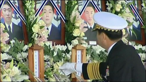Flowers laid at official funeral for South Korean sailors