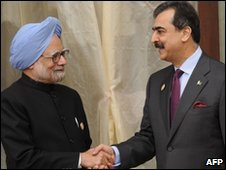 Manmohan Singh and Yousuf Raza Gilani on 29 Apr in Bhutan