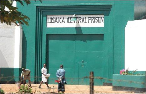 Lusaka Central Prison gates [Photo by Kieron Humphrey]