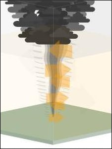 Animation of a tornado (Image: BBC)