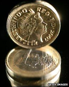 Pound coin on euro coins