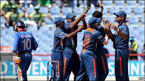 India celebrate in the field