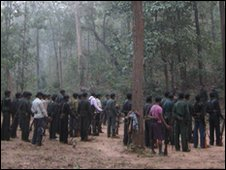 A group of fighters gathered under a tall tree in the forest