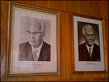 Portraits of Czechoslovak communist leaders Gustav Husak and Ludvik Svoboda