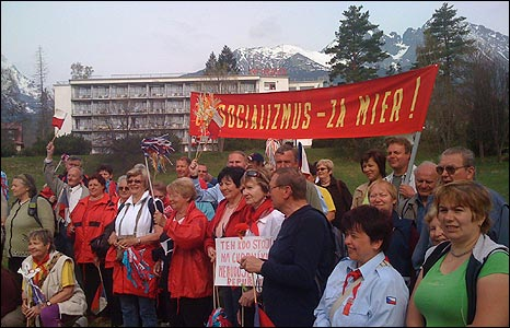 Communist-style May Day celebration at Tatranska Lomnica