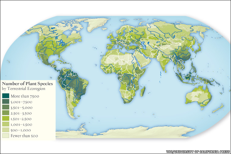 Bbc news in pictures atlas of global conservation map showing the number of plant species image tnc the maps and images appear in the atlas of global gumiabroncs Image collections