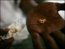 A gold buyer in DR Congo