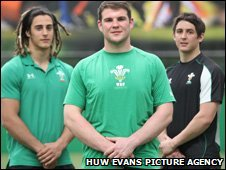 Dan Watchurst (centre) who will captain the Wales Under 20 squad in the forthcoming IRB Junior World Championships, and squad vice-captains Josh Navidi (left) and Rhys Downes (right)