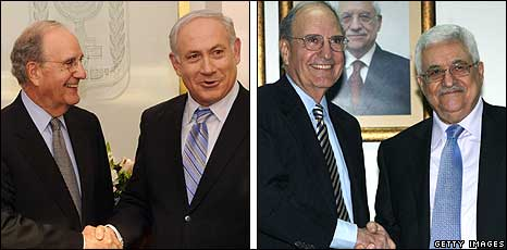 George Mitchell meeting Netanyahu and Abbas