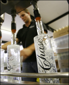 Bottles being filled at Chase Distillery