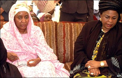 Hajia Turai Yar'Adua (left), widow of the late Nigerian President Umaru Yar'Adua and Nigeria's First Lady Patience Jonathan (right)