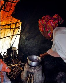 Woman using stove