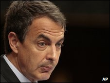 Spanish Prime Minister Jose Luis Rodriguez Zapatero addressing parliament, 12 May 2010
