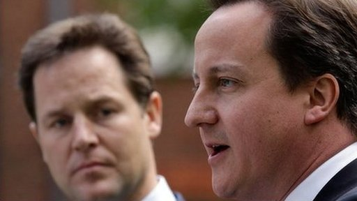 Nick Clegg and David Cameron at the press conference