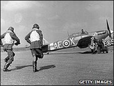 Squadron of the Royal Canadian Air Force run to their Hawker Hurrican fighter planes at York.