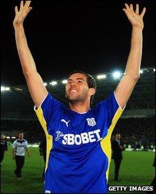 Joe Ledley celebrates