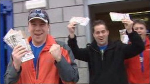 Cardiff City fans with Wembley tickets
