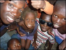 Haitian children pose for the camera