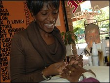 Florence Sefuno is a manicurist at a salon in Phokeng