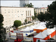 Tents outside the prime minister's office in Tirana, where hunger strikers are camped (12 May 2010)
