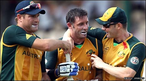 Shane Watson (left) and Michael Clarke (right) congratulate Michael Clarke