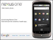 Screengrab of Nexus One page, Google