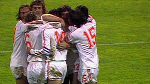 Netherlands players celebrate Johan Cruyff's goal against Brazil