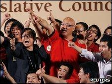 Re-elected Legislative Council members celebrate in Hong Kong (16 May 2010)