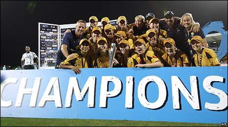 Australia celebrate victory in the final