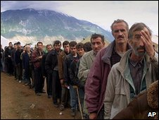 Ethnic Albanian refugees from Kosovo at a camp in Kukes, Albania