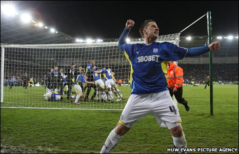 Ross McCormack celebrates Cardiff's play-off semi-final win