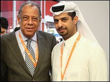 Nasser Al Khater (right) with Brazil football legend Carlos Alberto Torres