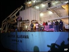 Crew members celebrating on the Maersk Alabama after the captain&#039;s release