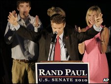 Republican Rand Paul celebrates his win in Kentucky