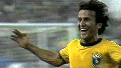 Zico celebrates scoring for Brazil