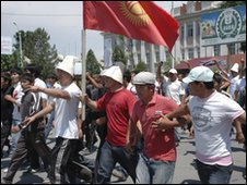 Protesters in Jalalabad, Kyrgyzstan - 19 May 2010