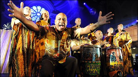 Cuban Creole choir Desandann performing at the Edinburgh Fringe, 2009