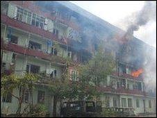 damaged building in Gori, South Ossetia