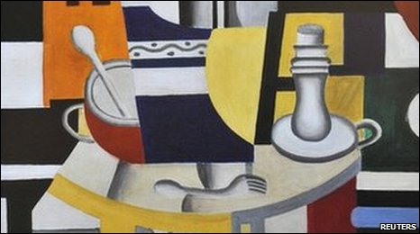 A reproduction of Nature Morte au Chandelier (Still Life with Candlestick) painted by Fernand Leger in 1922