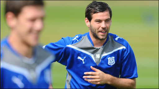 Mark Hudson (left) and Joe Ledley in Cardiff training this week