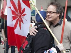 A supporter hugs Marc Emery