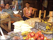 Market traders enjoy the calm brought by the military presence in Concepcion