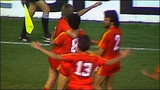 Belgium celebrate their second goal against the USSR