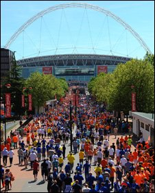 Fans go in to Wembley
