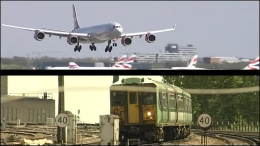 Split-screen image of plane coming in to land and local train on railtrack