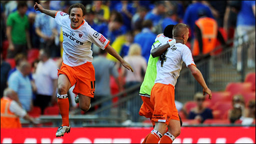 Wales midfielder David Vaughan celebrates making the Premier League after Blackpool's win over Cardiff at Wembley